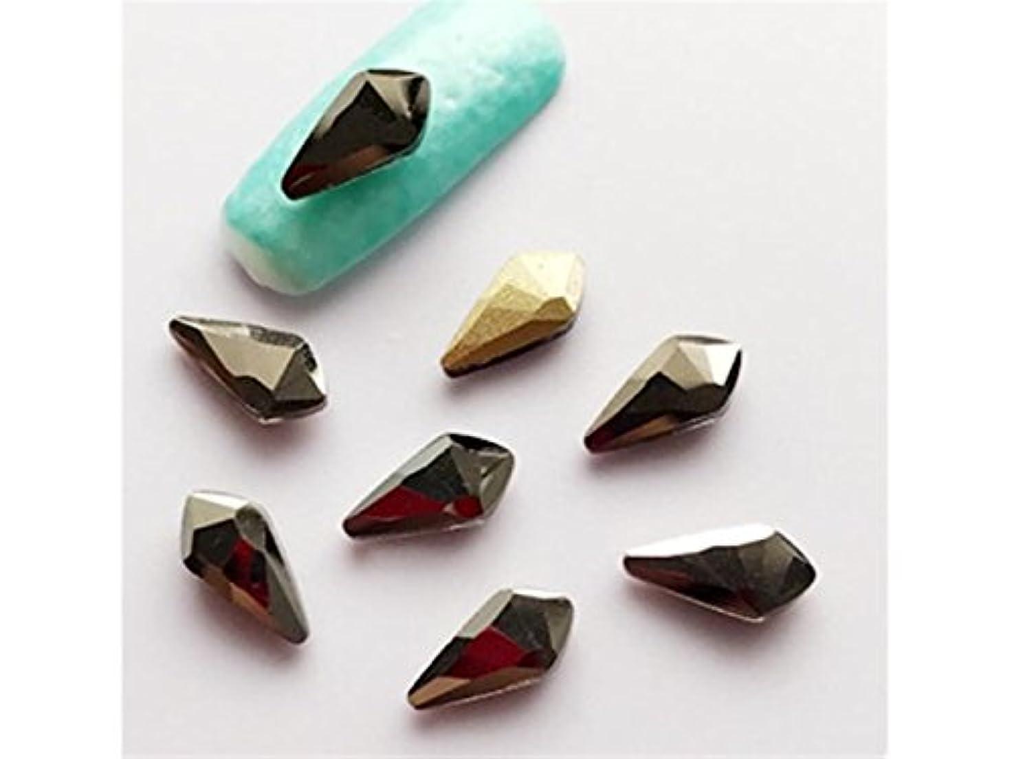 発見言うまでもなく証明するOsize 10本のラインストーンクリスタルガラスドリル3DネイルステッカーネイルアートデコレーションDIYネイルチップ(コーヒー)