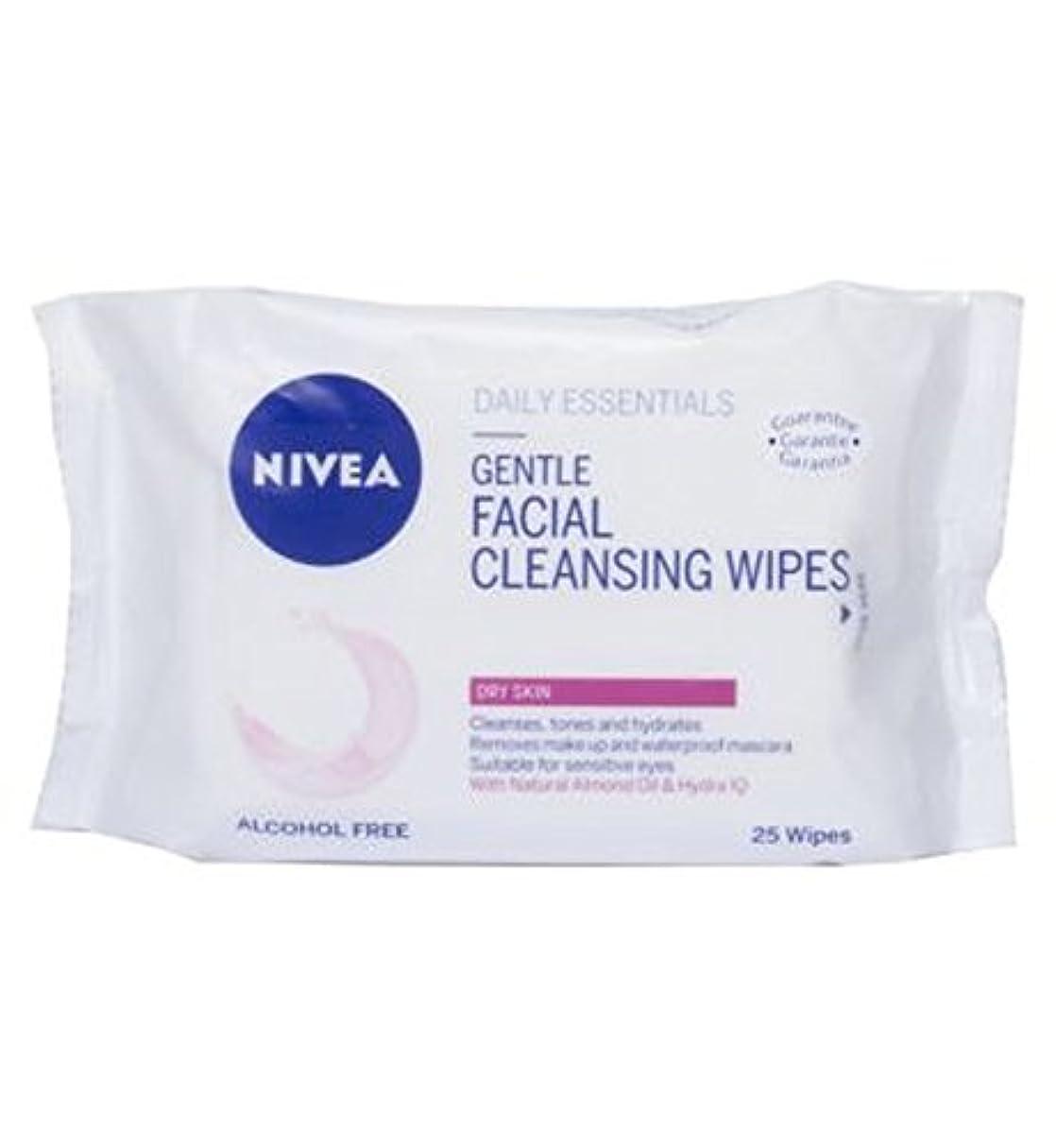 スプーン早熟インドニベア生活必需品優しい洗顔は乾燥肌の25S用のワイプ (Nivea) (x2) - Nivea Daily Essentials Gentle Facial Cleansing Wipes For Dry Skin 25s...