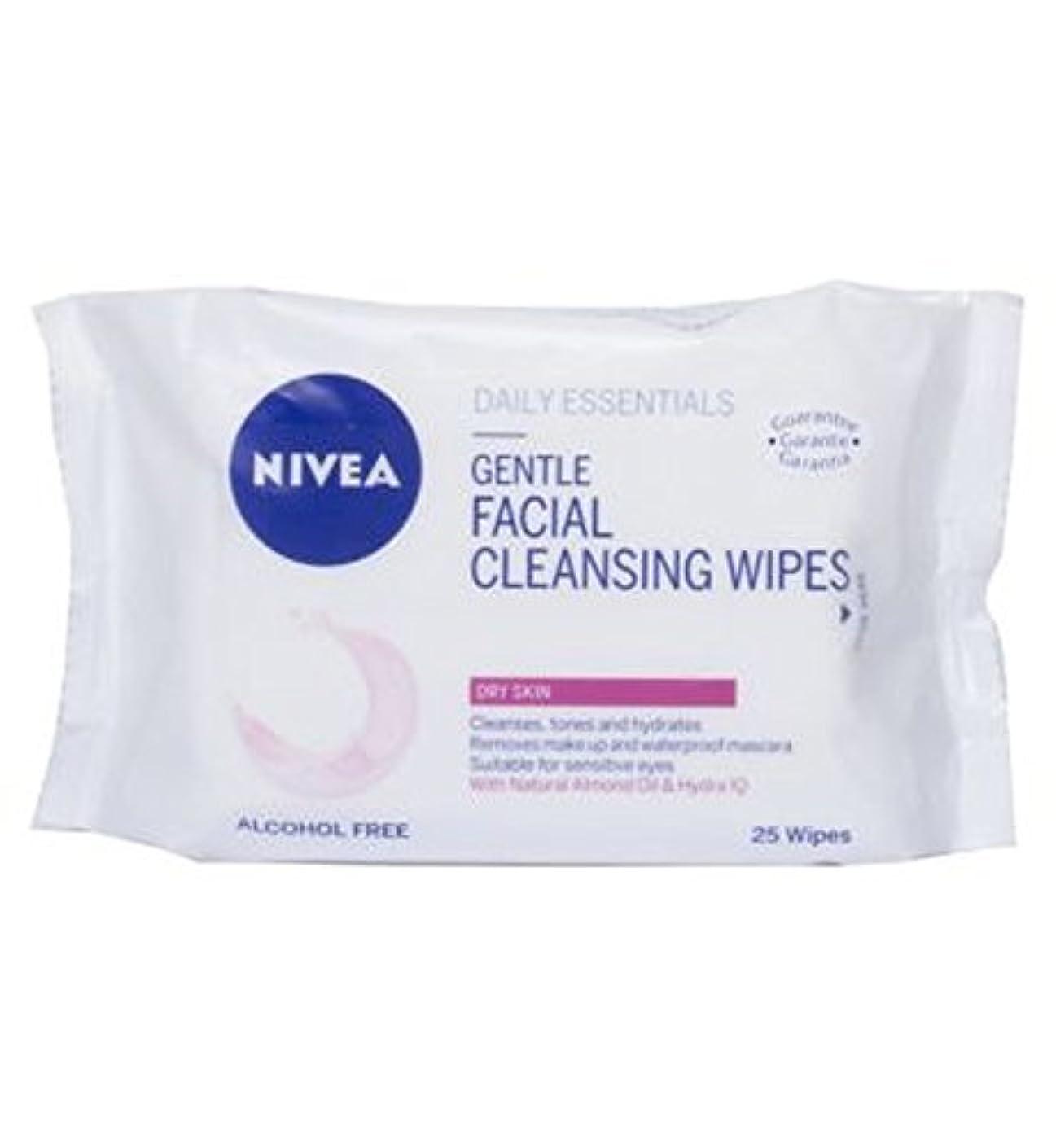 良さ付属品クッションニベア生活必需品優しい洗顔は乾燥肌の25S用のワイプ (Nivea) (x2) - Nivea Daily Essentials Gentle Facial Cleansing Wipes For Dry Skin 25s...