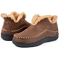Wishcotton Men's Camel Hump Microsuede Fuzzy Lining Moccasin Slippers