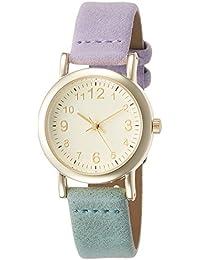 [フィールドワーク]Fieldwork 腕時計 ファッションウォッチ バイカ アナログ 革ベルト ツートンカラー パープル グリーン QKS170-3 レディース