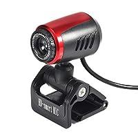 A7190ポータブルUSBコンピュータカメラビデオ録画16MP HD Webカメラ(マイク付き)オートホワイトバランス付きデスクトップPC(ブラック)