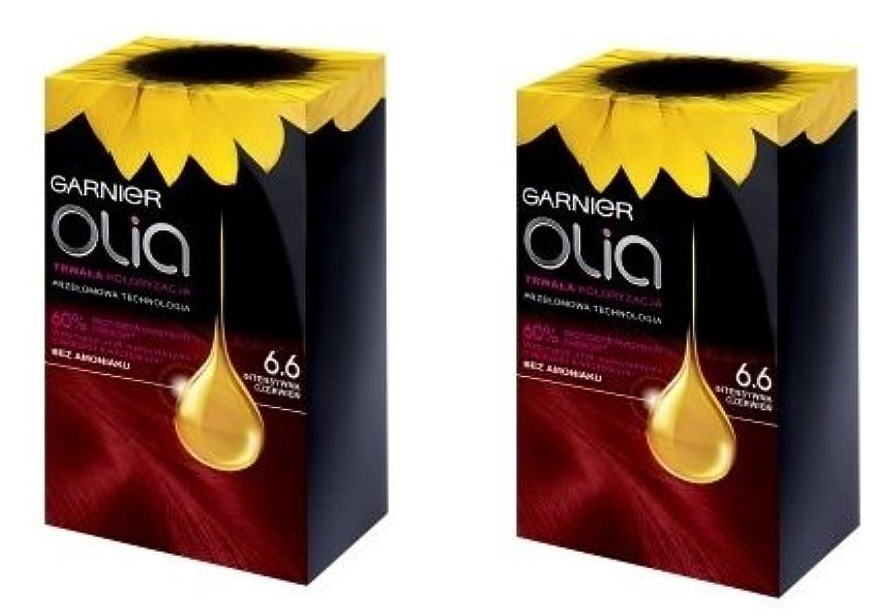 ポータル鋸歯状推測ロレアル Garnier Olia 6.60 Intense Red Hair Color 赤毛染め 2個