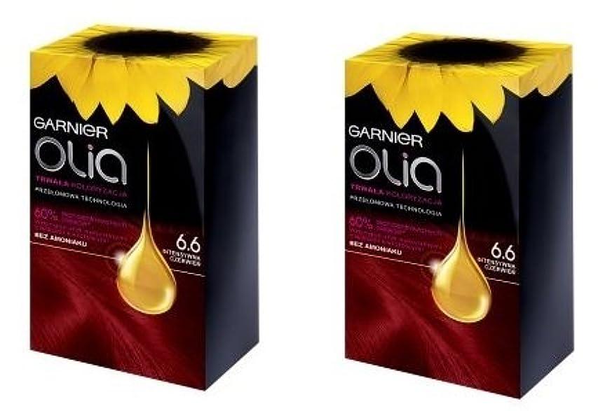 終了するうねるキャラバンロレアル Garnier Olia 6.60 Intense Red Hair Color 赤毛染め 2個