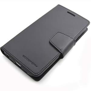Google Nexus5 (LG-D821/EM01L) 対応 ネクサス5 手帳型 ケース (ICカード、紙幣収納) GOOSPERY SONATA DIARY CASE ソナタ PUレザー ダイアリー ケース  (ブラック)