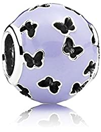 PANDORA Charms Abstract Silver Charm with Lavender Enamel and Cutout Butterflies