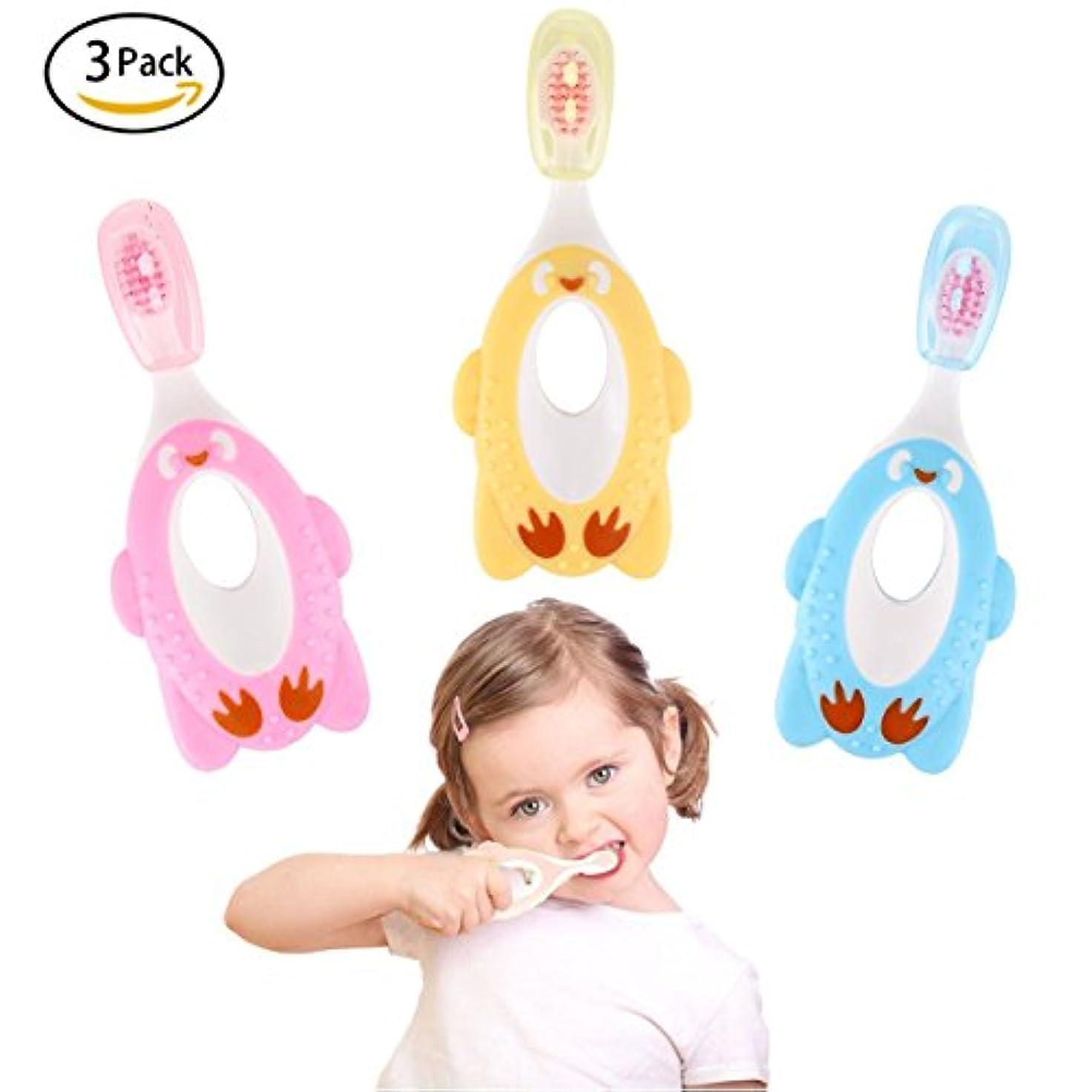 ドラム人種花(Pink,yellow,blue) - Fancy 3 Pack Step 1 Toothbrush,Soft Bristles,Safety Training Toothbrush for 1- 6 Years Old