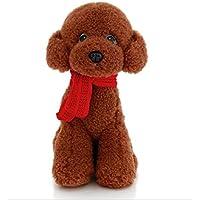 HuaQingPiJu-JP 25cmシミュレーションテディードッグとスカーフソフトトイぬいぐるみテディ犬動物玩具ホームデコレーションキッドギフト(ダークブラウン)
