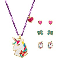 JoJo Siwa Unicorn Jewelry Gift Set for Girls, Yellow Plated Necklace with 3 Pairs of Stud Earrings