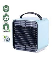 冷風扇風機 空気清浄機加湿器冷却機 冷風機 夜間LEDライト 充電式 風量3段階切り替え 気化式ミニエアコンファン 小型クーラー 贈り物 自宅用/事務室用/寝室,blue