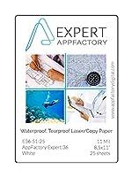 AppFactory Expert 11ミル 防水 破れにくい レーザー/コピー用紙 25枚パック 8.5x11
