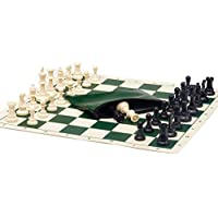 Basic Chess Set Combo - Single Weighted Regulation Pieces | Vinyl Chess Board | Basic Bag by