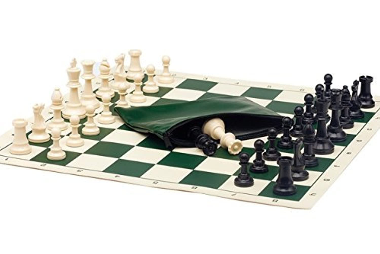 Basic Chess Set Combo - Triple Weighted Regulation Pieces   Vinyl Chess Board   Basic Bag by