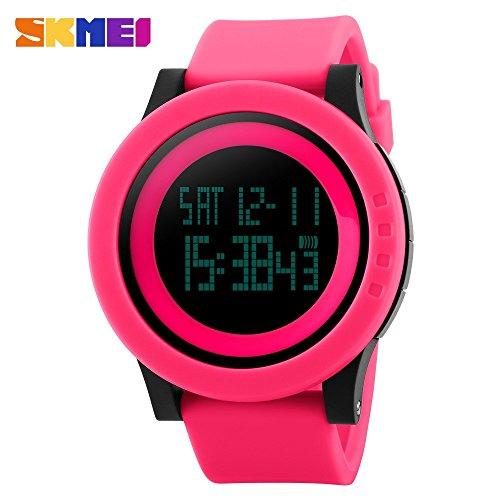 【 ユニ 】 4 色 タッチ スクリーン LED 腕 時計 防水 シリコン スポーツ アウトドア ウォッチ メンズ レディース (ピンク)