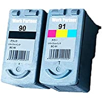 Work Partner CANON(キヤノン) BC-90+BC-91(ブラック+カラー)2個セット【再生インクカートリッジ】 リサイクル 対応機種:PIXUS MP470 / PIXUS MP460 / PIXUS MP450 / PIXUS MP170 / PIXUS IP2600 / PIXUS IP2500 / PIXUS IP2200 / PIXUS IP1700