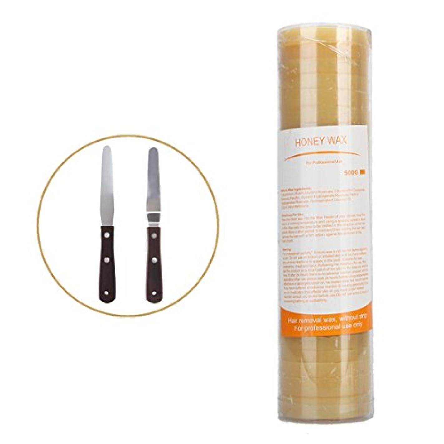 (アーニェメイ)Bonjanvy ハードワックス 脱毛 ビーズ 500g 1缶 ブラジリアンワックス 鼻毛 スティック 2本 セット-ハチミツ