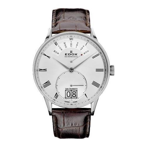 [エドックス] EDOX 腕時計 Les Vauberts Silver Dial Brown Leather Mens Watch 34005-3A-AR クォーツ 34005 3A AR [TimeKingバンド調節工具& HARP高級セーム革セット]【並行輸入品】