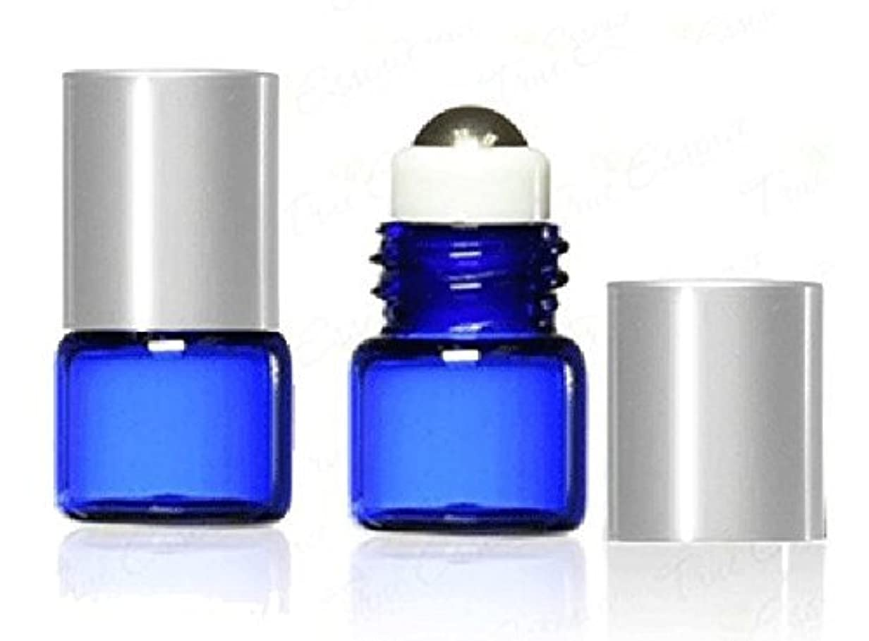 頬骨思われる才能のあるGrand Parfums 1 ml, 1/4 Dram Cobalt Blue Glass Micro Mini 1ml Roll-on Glass Bottles with Metal Roller Balls &...