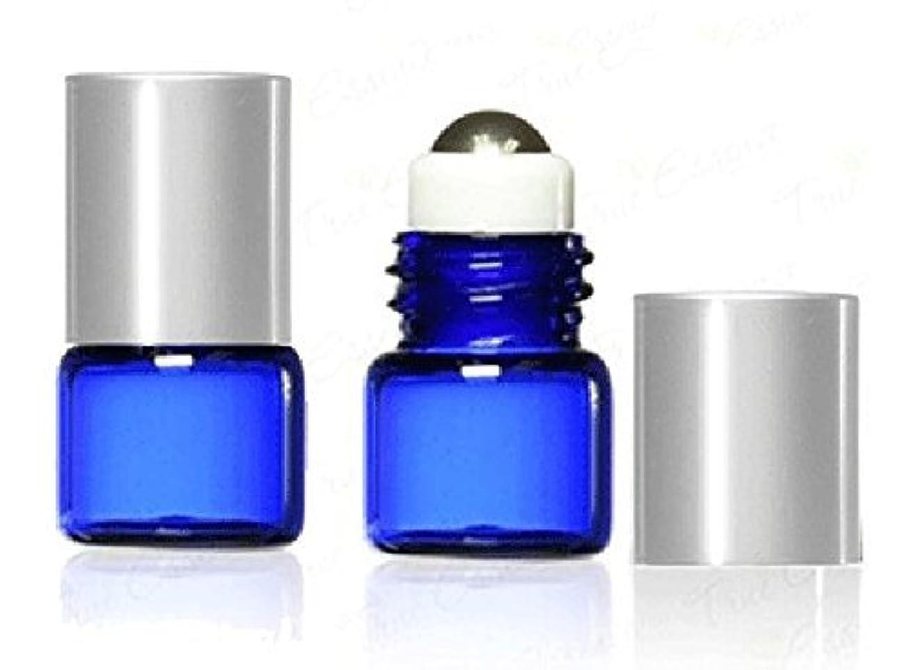 時々誕生日バンドGrand Parfums 1 ml, 1/4 Dram Cobalt Blue Glass Micro Mini 1ml Roll-on Glass Bottles with Metal Roller Balls & Metal Silver Caps. - Refillable Aromatherapy Essential Oil Roll On (12) [並行輸入品]