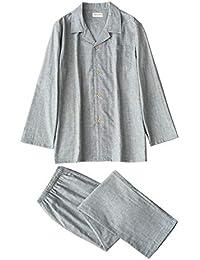 Vinvo パジャマ メンズ 長袖 チェック柄 綿100 前開き 二重 ガーゼ 上下 セット