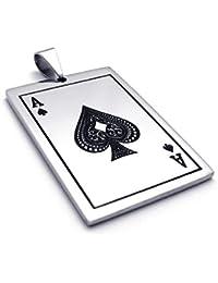 [テメゴ ジュエリー]TEMEGO Jewelry スペードカードポーカーネックレスのメンズステンレススチールペンダントヴィンテージエース、ブラックシルバー[インポート]