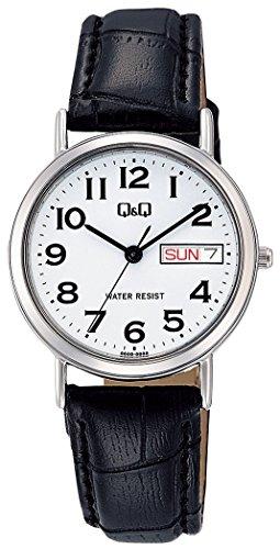 [シチズン キューアンドキュー]CITIZEN Q&Q 腕時計 スタンダード アナログ 革ベルト 日付 曜日 表示 ホワイト A203-304 レディース