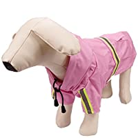 [QIFENGDIANZI]中型 大型 犬用レインコート 雨の日 撥水衣 帽子付き ジャケット 通気 軽量 防水服 防寒  ドッグウエア 梅雨対策 ピンク M