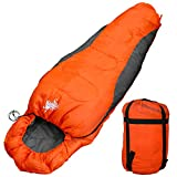 WhiteSeek 寝袋 シュラフ マミー型 コンパクト収納 抗菌仕様 限界温度-5℃ 1500g (NEWオレンジ)