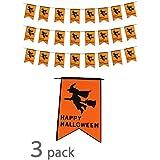(POMAIKAI) ハロウィン 飾り フラッグガーランド フェルト かぼちゃ 魔女 コウモリ 屋外 屋内 3つセット ( 魔女 )