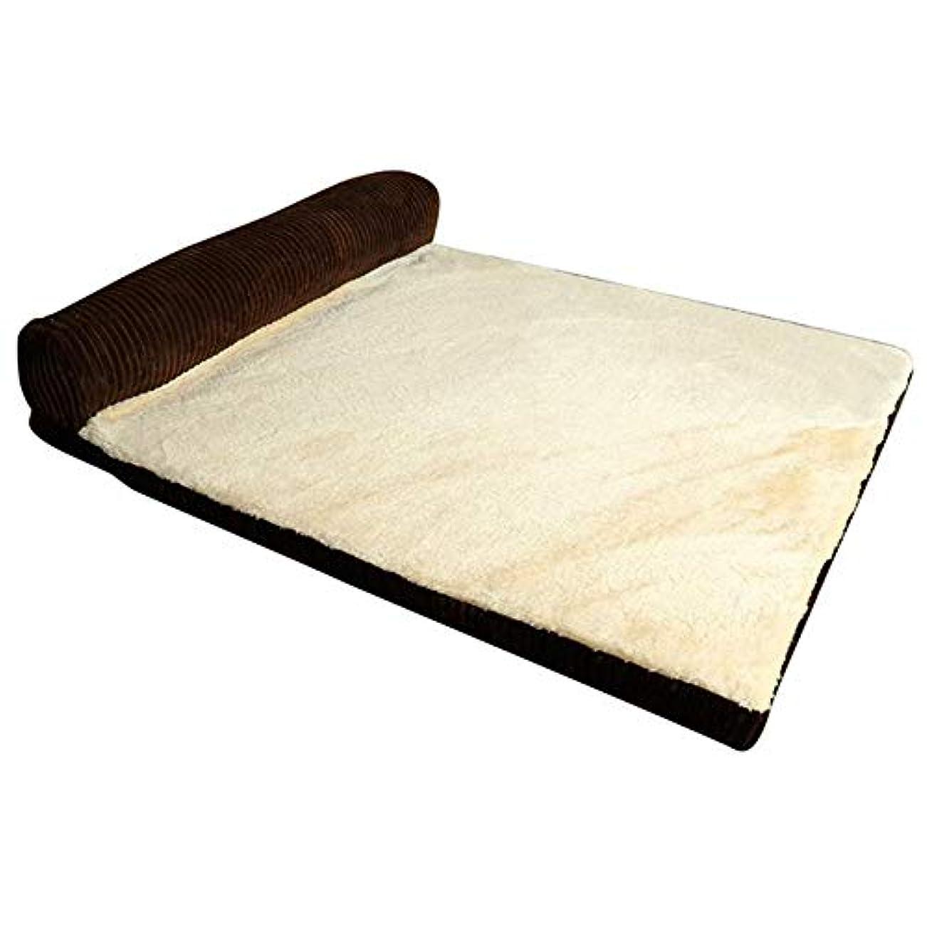 チューリップ咲く等犬 ベッド HCGS 猫 ベッド 子犬中型大型犬のためのl字形の正方形の枕機械の洗濯可能なカバーおよび取り外し可能なマットの猫の家 90X75X17cm ブラウン-1サイド