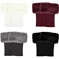 4 Pairs Women Faux Fur Trim Boot Cuff Winter Knitted Furry Top Cover Leg Warmers Girls Boot Socks