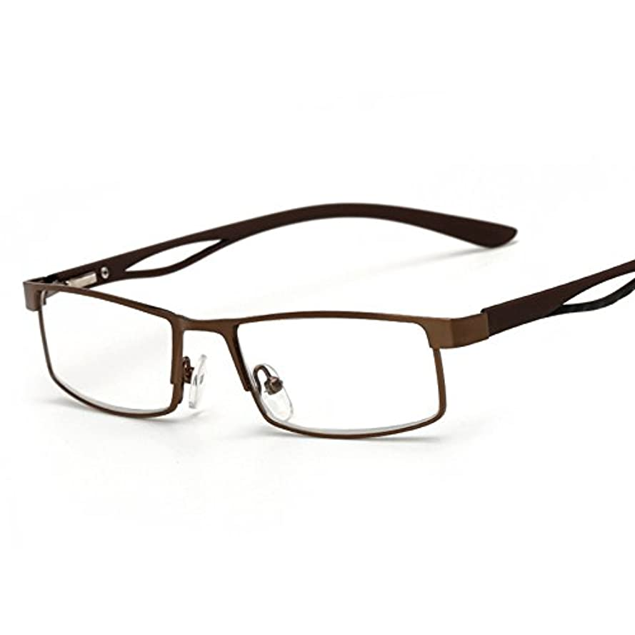 尋ねる変装恩恵Fuyingda 角型老眼鏡 老人読書用メガネ メタルフルフレームメガネ強度:+1.0?+4.0