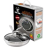 Cook King Tri Ply Stainless Steel Honeycomb Non Stick Frying Pan with Glass Lid (11 Inch - 28 cm)