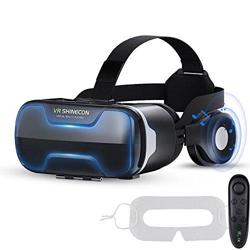 Vionriwon VRゴーグル iphone イヤホン解体可能 目幅・焦点・音量調節 動画一時停止 vrグラス マスク付きリモコン3点セット 4.7~6.0インチのスマホ対応 (ブラック)
