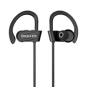 【技適認証済】Omaker Bluetooth V4.1イヤホン 防水防汗ワイヤレスイヤホン スポーツ仕様 ランニング適用 柔軟な耳かけフック付き/マイク内蔵 iPhone/Androidスマホに対応 ブラック