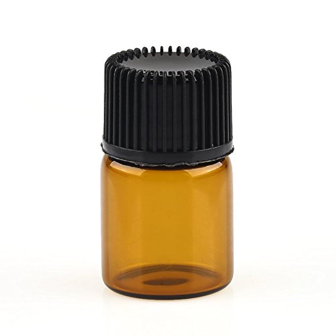 少年貨物ノーブルVERY100 遮光ビン ミニガラスアロマボトル アロマオイル用瓶 キャップ付き 穴付き内栓 1ml、2ml、3ml 10本セット アンバー (2ML)