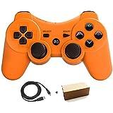 Aoityle PS3対応 ワイヤレスコントローラー 互換 USB ケーブル付属 (橙)