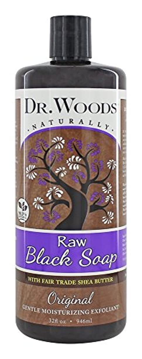 円形ライブバーDr. Woods - 公正貿易のシアバターの原物の液体の未加工黒い石鹸 - 32ポンド [並行輸入品]