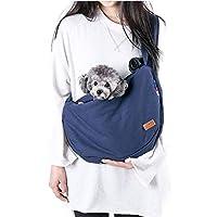 Mofech ペット キャリー バッグ 犬 猫 スリング 抱っこ紐 お出かけ抱っこ バッグ ペット 小型犬 ショルダー 飛び出し防止 ねこ用/いぬ用 ペットスリング ドッグ 斜めショルダーバッグ 肩紐長さ調整 収納袋 付き ブルー