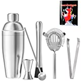 Cocktail Shaker Set of 6 Barware Kit, 25 oz Stainless Steel Martini Shaker with Built-in Strainer, Muddler, Double Jigger, Mixing Spoon, Ice Tongs, High Density Strainer