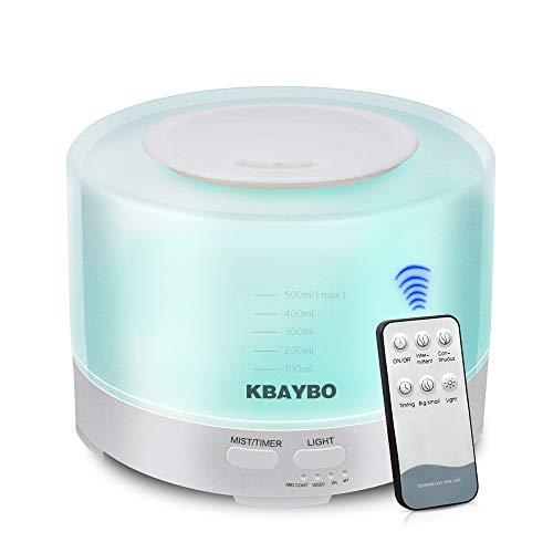 KBAYBO アロマディフューザー 加湿器 卓上 アロマ加湿器 卓上加湿器 ナイトライト リモコン付き スチーム 大容量 タイマー付き 超音波式 除菌 静音 間接照明 空焚き防止 時間設定 500ml 七色変換LEDライト ホワイト