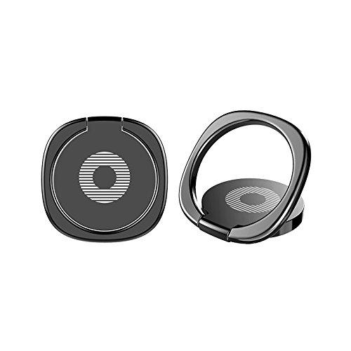 スマホ / 携帯 ホルダー リング型 スタンド 落下防止 360度回転 角度調整 3mm超薄 マグネット車載ホルダー対応 iPhone / Galaxy / Xperia 多機種対応 (ブラック)