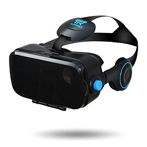 T-PRO 3D VRゴーグル iOS android対応 iPhone 7 7plus 6s 6 6plus 5s xperia ゲーム 本体 おすすめ ヘッドセット一体型 ヘッドホン 視野角調節 近視対応 音量調節 galaxy ヘッドマウントディスプレイ 4.0~6.0インチスマホ対応【国内メーカー直販:1年保証付】 (ブラック)