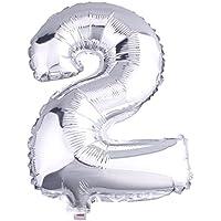 C-Princessアルミ風船 バルーン 数字 ナンバー 0-9組合自由 飾り 誕生日ハロウィン クリスマス イベント パーティー 結婚式応援 シルバー (2)