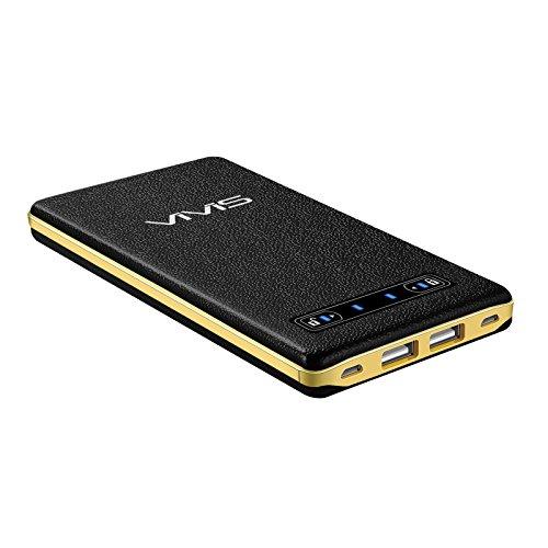 VIVIS 最薄型 最軽量 20000mAh モバイルバッテリー 超大容量 2A+2A 2つ入力ポートスマホ充電器 iSmart機能搭載 2.5A+2.5A 2つ出力ポート 急速充電可能 革のような手触り スライドスイッチのデザイン 高品質リチウムポリマー電池使用 iPhone / iPad / Galaxy / Xperia / Androidスマホ/ タブレット等対応(ブラック)