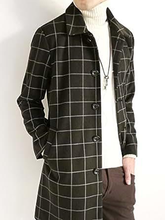(オークランド) Oakland メルトン 起毛 チェスター コート ステンカラー 品質 モード トラッド 都会的 デザイナーズ デザイン 秋 冬 メンズ ウィンドウペン XLサイズ
