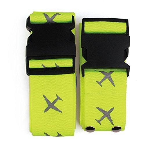 Cozyswan 十字型ベルト スーツケースベルト ロック搭載ベルト 蛍光十字型 荷物の固定 (蛍光グリーン)2個セット