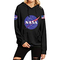 Phoenix_us WLLW Women Fall Winter Warm Fleece NASA Print Hoodie Sweatshirt with Kangaroo Pocket