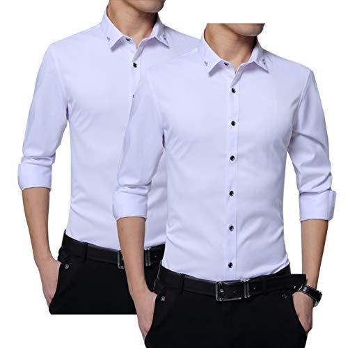 Aliux 長袖 ワイシャツ 白 黒 2枚セット メンズシャツ 形態安定 速乾 ノーアイロン シャツ メンズ ファッション ビジネス 冠婚葬祭 White-XL