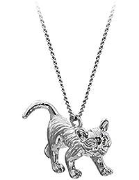 SenFai 3 D立って猫 ペンダント ネックレス、メンズ アクセサリー カラー:シルバー